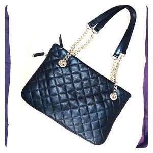 Calvin Klein quilted black leather & gold chain